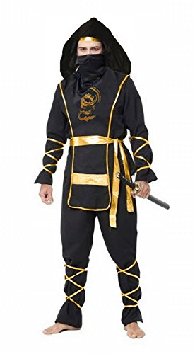 Spring fever Adult Ninga Master Deluxe Martial Halloween Cosplay Costume Black Adult M for height(65