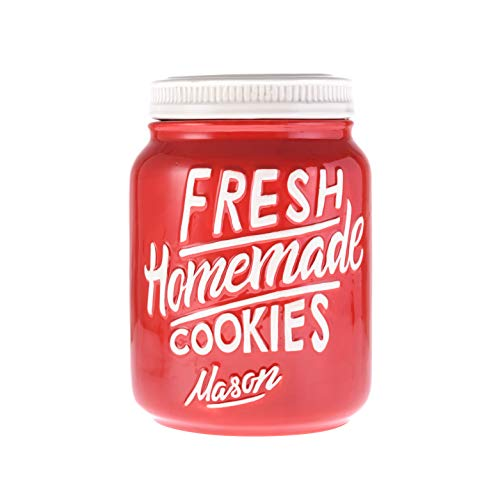 Red Ceramic Mason Jar Cookie Jar - Keep Your Cookies & Baked Goods Fresh with an Airtight Lid   Handy Container   Food Grade Vintage Farmhouse Decor & Collector Gift   Kitchen Accessory by Goodscious
