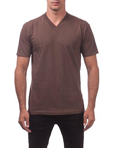 Pro Club Men's Comfort Short Sleeve V-Neck T-Shirt, Brown, X-Large (Heavyweight V-neck T-shirt)