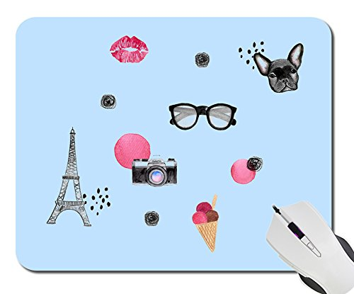 Sunglasses Eiffel tour photo camera dog ice cream Custom Design Fashion Personalized Computer Game Mouse Mat Pad, Notebook Non-Slip Rubber Mousepad - With Pictures Dogs Sunglasses