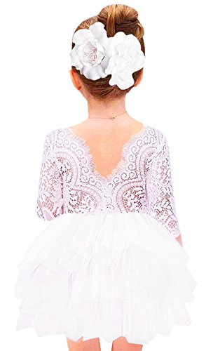 2Bunnies Girl Beaded Peony Lace Back A-Line Tiered Tutu Tulle Flower Girl Dress (White 3/4 Sleeve Short, 12 Months)