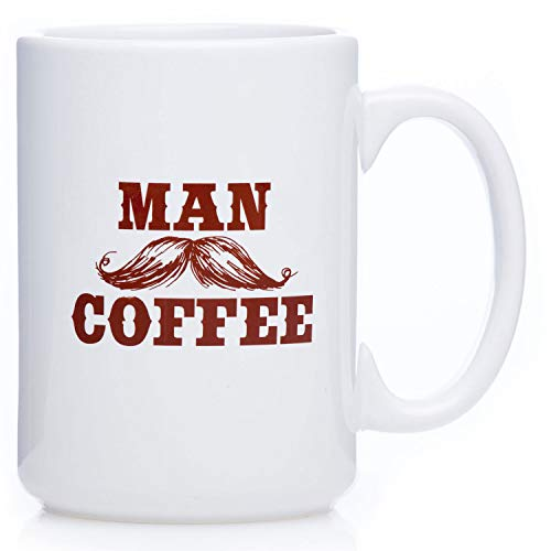 Mustache Man Coffee Mug - For Manly Men, 15 Ounce