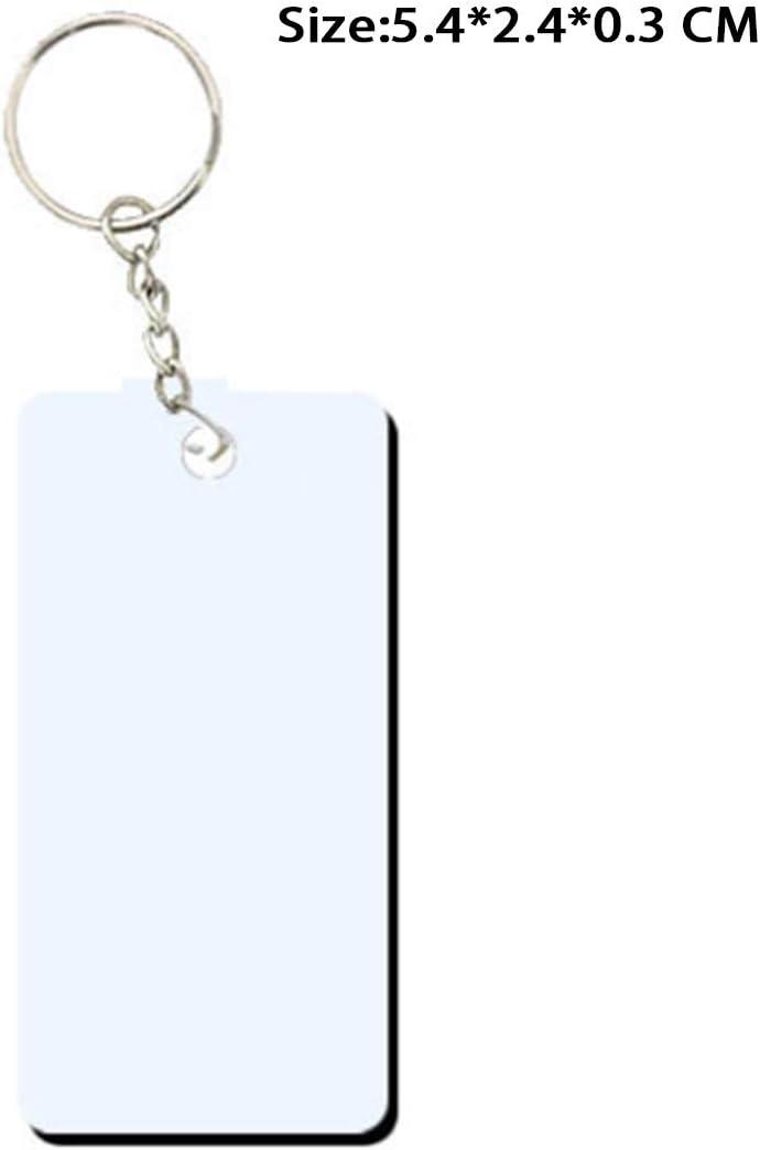 10 PCS Sublimation Keychain Blanks DIY White Blank MDF Heat Transfer Keychain Blanks Wooden Hard Board Key Rings