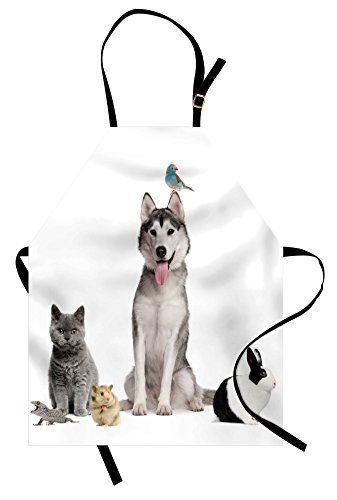 Lunarable Animal Apron, Group of Pets like Cat Dog Bunny and Bird on the White Background Digital Print, Unisex Kitchen Bib Apron with Adjustable Neck for Cooking Baking Gardening, White (Unique Group Costume Ideas For Work)