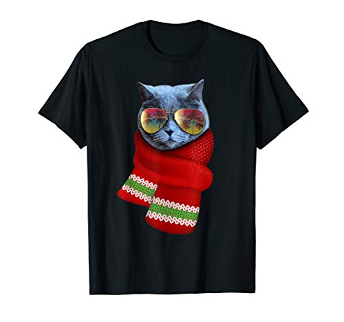 Christmas Cat Shirt Cute Holiday Gift Cat Lovers Sunglasses ()