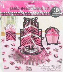 Zebra Fabulous Table Decorating Kit (Pink Decorating Kit)