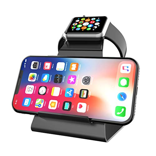 XUNMEJ Watch Stand Charging Dock for Apple Stand Bracket Station Holder for Apple Watch Series 3/Series 2/ Series 1 (42mm 38mm) Phone Xs X Max XR X 8 8plus 7 7plus 6S 6plus (Black)