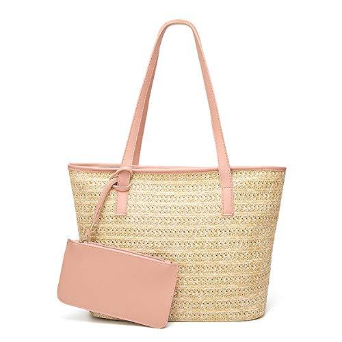 Tote Pink Straw Handbags - GuaziV Women' Straw Beach Bags Handbags Shoulder Bag Tote (pink)