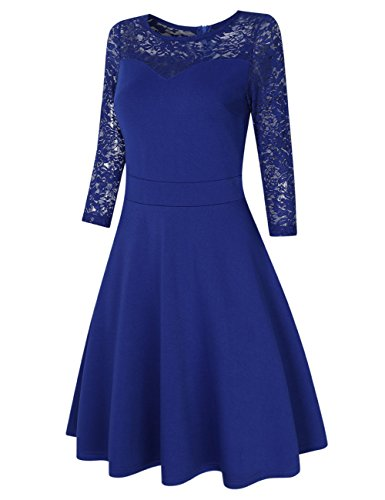 Line Dress A Party Lace Cocktail and Fit A Women Blue 1 Line Flare VeryAnn Dress wXvBEq