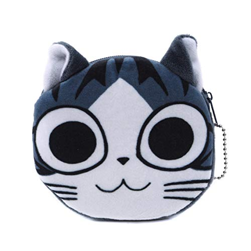 Rurah Plush Cat Coin Bag Cat Keychain Coin Wallet Soft Stuffed Plush Cat Pocket Coin Purse Card Bag Zipper Closure Purse for Girls and Kids Creative Gift Toy Doll