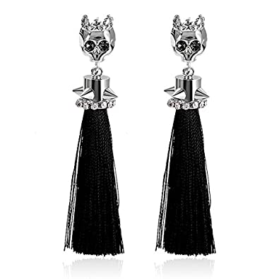 41d1a3d01 Unique Punk Rhinestone Skeleton Black and silver Gold Plated Skull Head  with CZ Inlay Tassel Drop