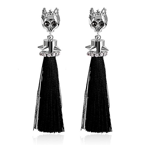 (Unique Punk Rhinestone Skeleton Black and silver Gold Plated Skull Head with CZ Inlay Tassel Drop Stud Earrings for Women Christmas Halloween Party|EVERRICH)