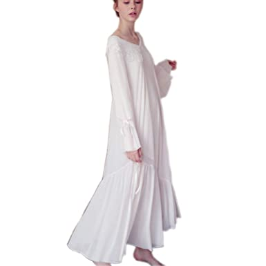 a5151f03c0584 Womens  Long Vintage Nightdress Princess Pajamas Victorian Sleepwear  Coverup Lounge at Amazon Women s Clothing store
