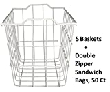 40604, Deep Storage Basket, White (Extra Deep (5-pack) + Freebie)