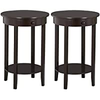 Yaheetech Round Sofa Side End Table with Drawer Wood Beside Nightstand Console Table for Small Spaces Living Room Tall Coffee Accent Tables, Espresso, Set of 2