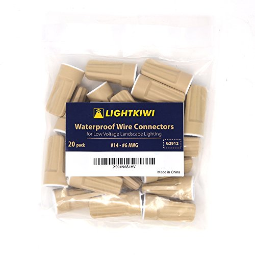 - Lightkiwi Waterproof Wire Connector for Low Voltage Landscape Lighting (#14 - #8 AWG (20 Pack))