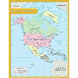 north america wall map - Teacher Created Resources North America Map Chart, Multi Color (7655)