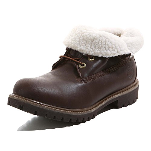 (Timberland Men's Af Roll Top Leather Laced Fur Cuff Winter Ankle Boot (10.5 F(M) UK) Dark Brown)
