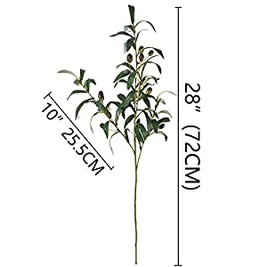 """Warmter 28"""" Artificial Olive Branches Plants Blackish Green Olives Fruit Artificial Greenery UV Resistant Plants Artificial Plant for Indoor Outside Decor 3 Pcs 2"""