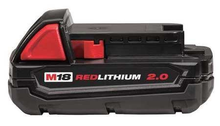 MILWAUKEE ELECTRIC TOOL 48-11-1820 Red Lithium 2.0 Compact Battery Pack, 3.3'' x 6'' x 5.6''