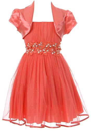 (BluNight Collection Big Girls Beautiful 2 Pieces Bolero Dress Rhinestones Shiny Holiday Flower Girl Dress Coral 14 (2J1K4S4))