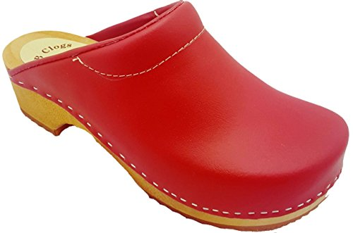 Para Original Spannpolster Rot Schwedenclogs Zuecos Mit Dänische Rojo Clogs Form Mujer Mb zw05t
