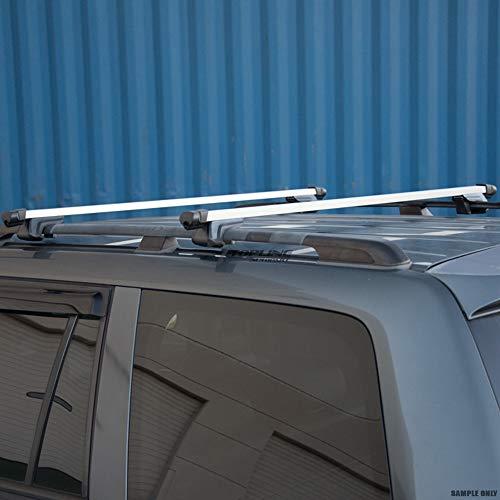 Topline Autopart 49 Silver Square Roof Rail Rack Cross Bars Kit+Cargo Carrier Luggage Basket T1