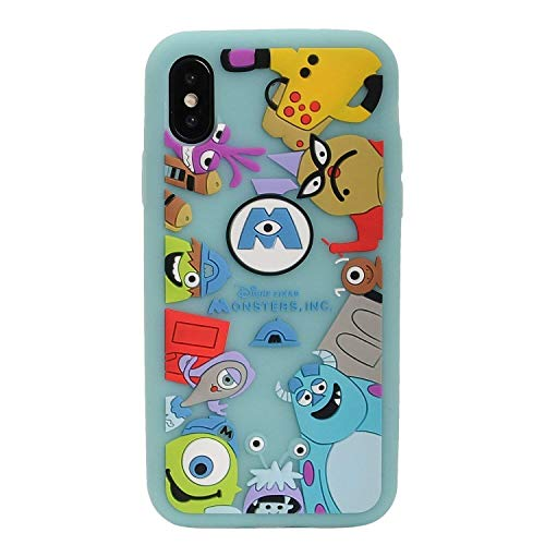 Soft Silicone Monsters University Case for iPhone X XS Green Walt Disney Pixar Cartoon Mike and Sulley Shockproof Protective Cute Lovely Pratical Cool Fun Protective Girls Teens Kids Boys Son -