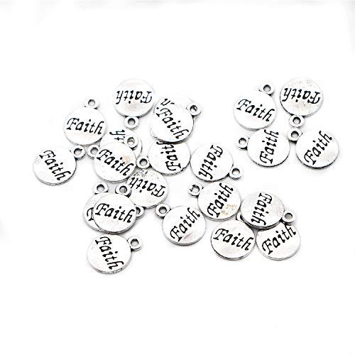 Buorsa 50 Pcs Faith Message Inspiration Charm Silver Tone Round Charm Pendants Jewelry Making -