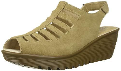 (Skechers Women's Parallel-Trapezoid Wedge Sandal,dark natural,8.5 M US )