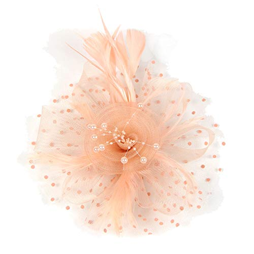 Women Girls Fascinators Hat Flower Mesh Ribbons Feathers Flapper Great Gatsby Headband Clip Tea Party Headpiece (Pink)]()