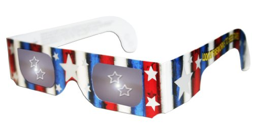 3D Holographic Glasses w Patriotic Frame-See STARS at Any Bright Point of Light-Pack of 5