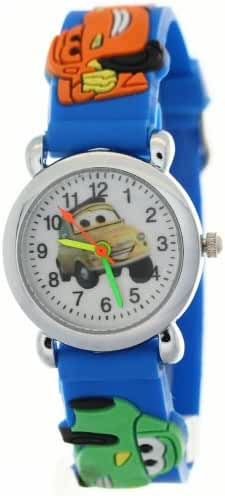 Timemall Kids Blue Rubber Band Cartoon Partten Waterproof Watches