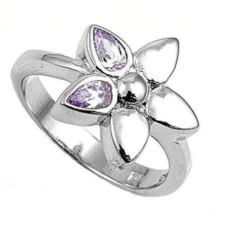 Zirconia Star Cubic Lavender (Light Purple Lavender Pear-Shaped Cubic Zirconia Star Flower Ring 925 Sterling Silver Size 9)