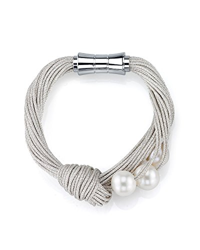 THE PEARL SOURCE 10-11mm Genuine White Freshwater Cultured Pearl Jessie Bracelet for Women