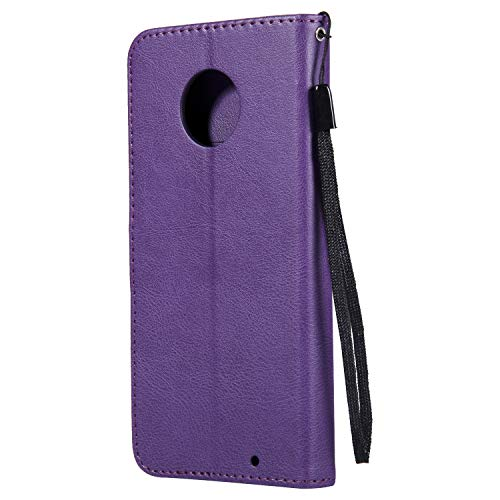 Moto G6 Plus Case, AIIYG DS Classic Pure Color [Kickstand Feature] Flip Folio Leather Wallet Case with ID and Credit Card Pockets for Moto G6 Plus Purple by AIIYG DS (Image #1)