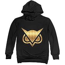 ITMEIAL Men's Vanoss Gaming Gold Owl Fleece Hoodie Black M