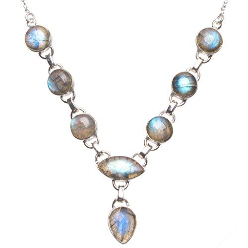 StarGems(tm) Natural Labradorite Indian 925 Sterling Silver Gemstone Necklace 20 1/4