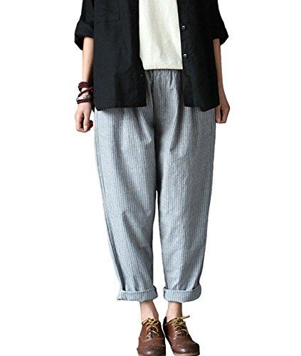 Aeneontrue Women's Cotton Linen Striped Casual Pants Elastic Waist with Pockets Gray