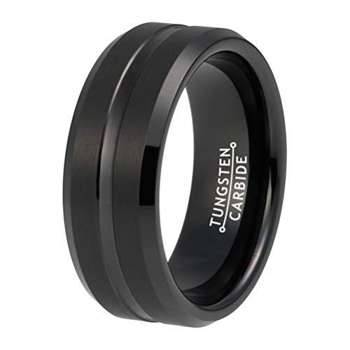 BestTungsten 8mm Black Tungsten Carbide Rings Wedding Bands Men Women Satin Finish Beveled Edges Comfort Fit