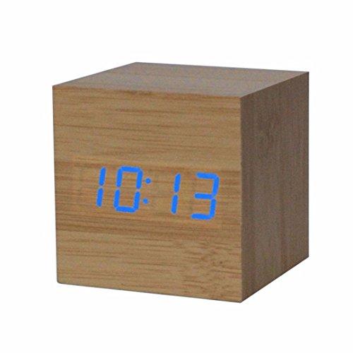 UPC 644540076967, Nolia Digital LED Bamboo Wooden Wood Desk Alarm Brown Clock Voice Control
