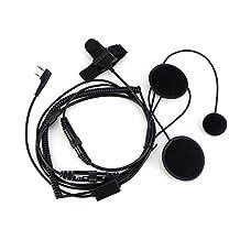 BaoFeng 2 PIN Open / Half Helmet Motorcycle Headset Earpiece Mic, for Motorola / BaoFeng / Kenwood / WouXun / PuXing / Linton Two Way Radio Walkie Talkie, Black
