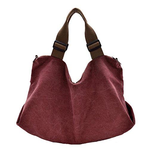 Win8Fong lienzo Casual de la mujer grande bolso bandolera estudiantes bolso Cruz Cuerpo bolsas de moda moderna rojo vino
