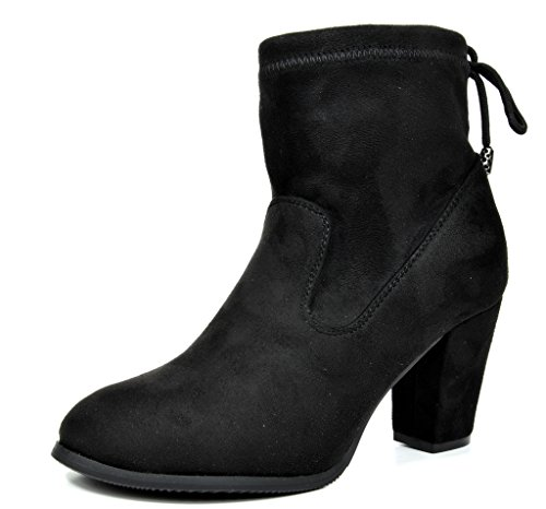 DREAM PAIRS ANKLEG Women's Stylish Drawstring Back Tie Up Ankle Chuncky Heel Booties BLACK SIZE 10 (Tie Boots)