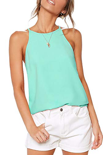 (THANTH Womens Tops Halter Sleeveless Tank Tops Sexy High Neck Summer Cami Tops Spaghetti Strap Shirts Casual Racerback Tops Basic Cute Junior Shirts Tops Blouses Mintgreen)