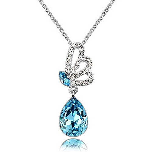 [Next-Tues New Design Austrian Crystal Butterfly Wings Pendant Series Jewelry Necklace(Blue)] (Diy Pageant Girl Costume)