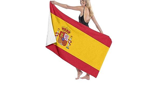 Elsaone Toallas de Playa Bandera de España Toalla de Manta de Playa Grande Toalla de baño Ultra Suave Altamente Absorbente de Gran tamaño 32 x 52 Pulgadas: Amazon.es: Hogar