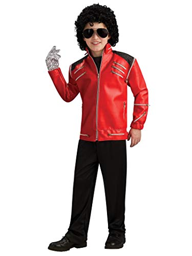 Michael Jackson Child's Deluxe Red Beat It Zipper Jacket Costume Accessory, Small]()