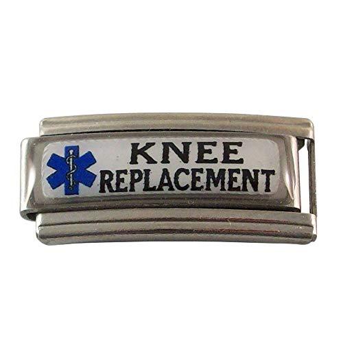 Gadow Jewelry 2 Knee Replacement Medical ID Alert Italian Charms for Bracelet Blue Star (Star Italian)