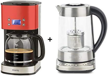 H. Koenig MG30 Rojo + ti700: cafetera 1,8L Tetera – Tetera eléctrica 1,7L programables: Amazon.es: Hogar